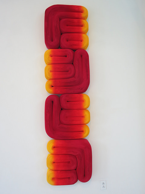 Jae Ko: JK 437 Red and Orange, 2013; rolled paper, colored ink