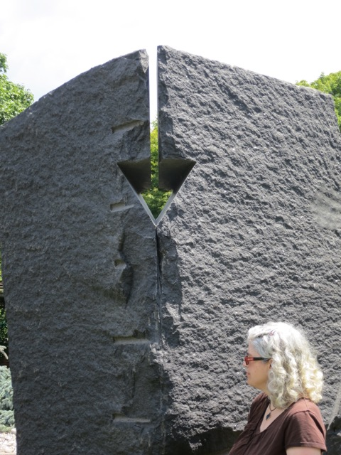 Standing with Paolo e Francesca by Beverly Pepper at the Grounds for Sculpture