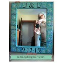 Blue Green Log Cabin Wedding Mirror by Margaret Almon of Nutmeg Design