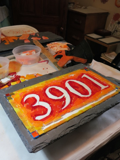 Orange Ombre House Number by Nutmeg Designs