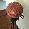 Orange and Red Paisley Bowling Ball by Margaret Almon