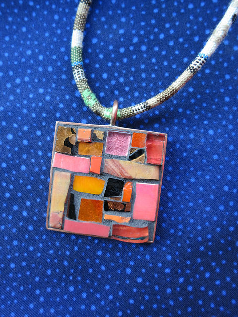 Verve Pendant in Orange and Coral by Margaret Almon
