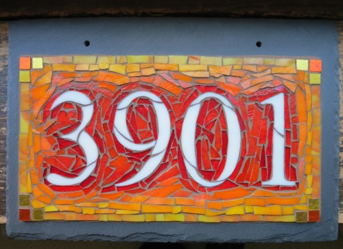 Orange Ombre House Number 3901 by Nutmeg Designs