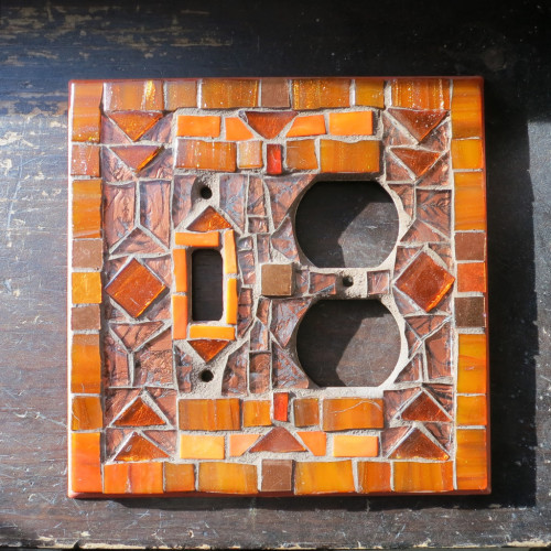 Art Deco Switch Plate in Orange and Copper by Margaret Almon
