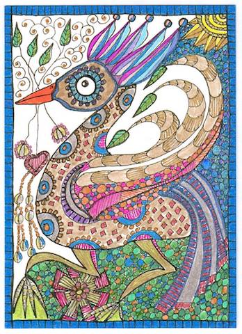 Fantasy Bird Drawing by Suzi Beber