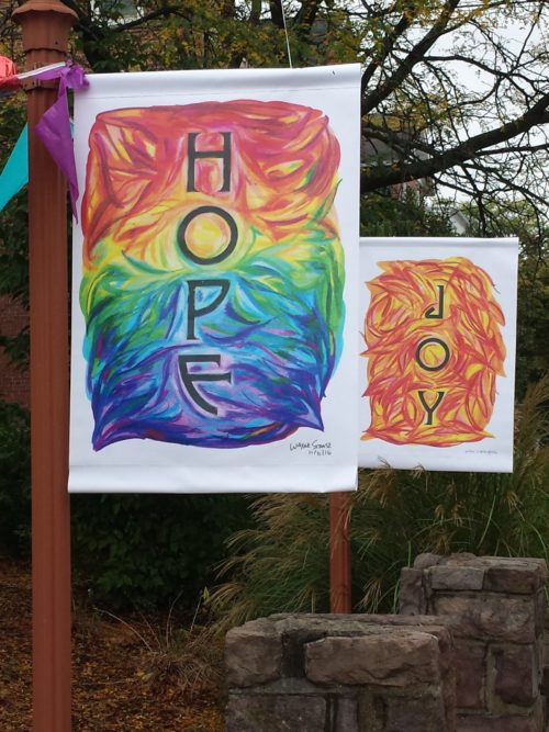 Rainbow Hope Doodle Church Banner by Wayne Stratz