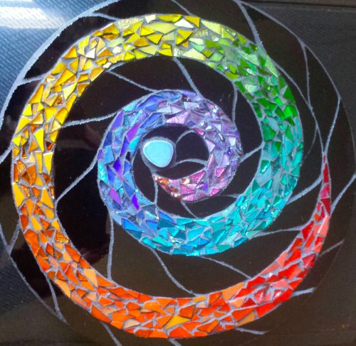 Rainbow Spiral Mandala for Nutmeg Designs Open Studio