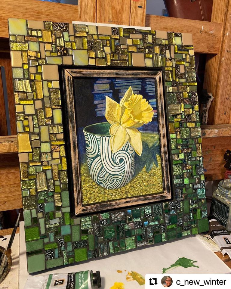 Yellow and Green Mosaic Frame by Margaret Almon for an original painting by Charles Sheely.