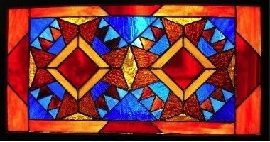 Bear Paw Quilt Stained Glass by Wayne Stratz.