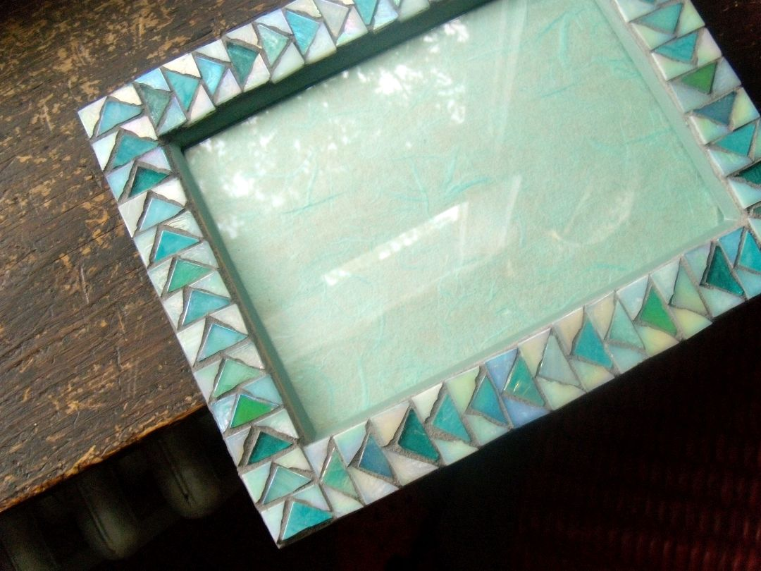 Flying Geese Frame in Aqua by Margaret Almon