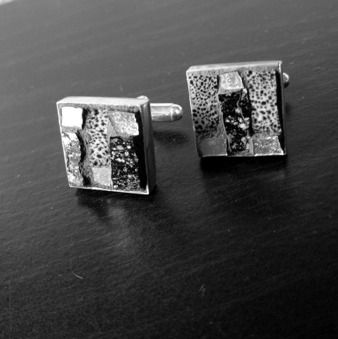 Film Noir Mosaic Cufflinks by Margaret Almon[sold]