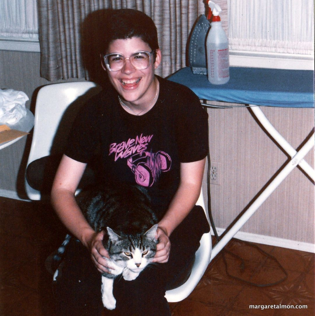 Margaret Almon circa 1985 with Hercules the Cat.