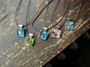 Mosaic Mini Pendants by Margaret  Almon