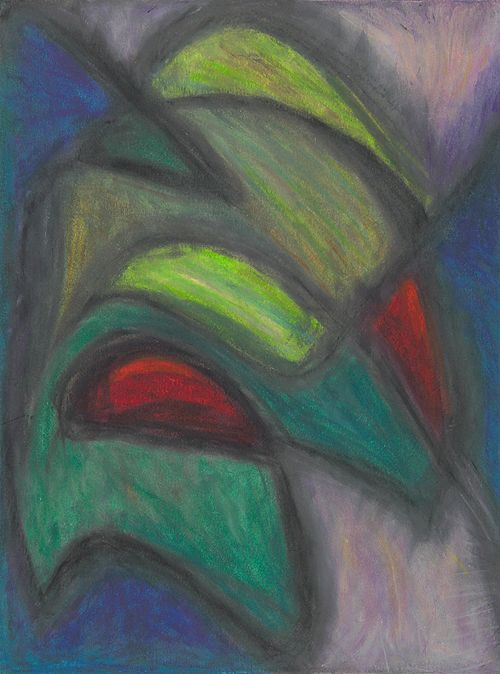Coming to Grips with Green, Oil Pastel by Suzanne Halstead.