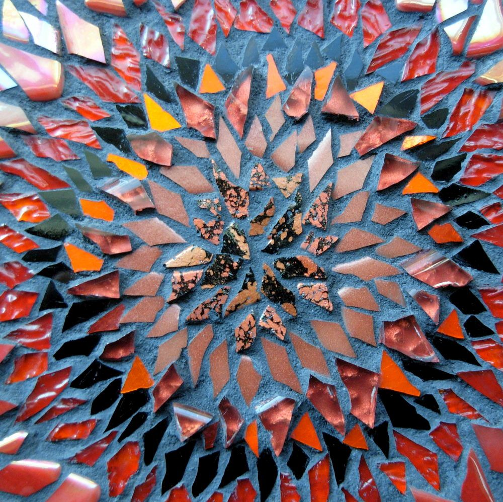 Red Blanket Flower Mandala by Margaret Almon with a Center of Cosmos Glass Tile.