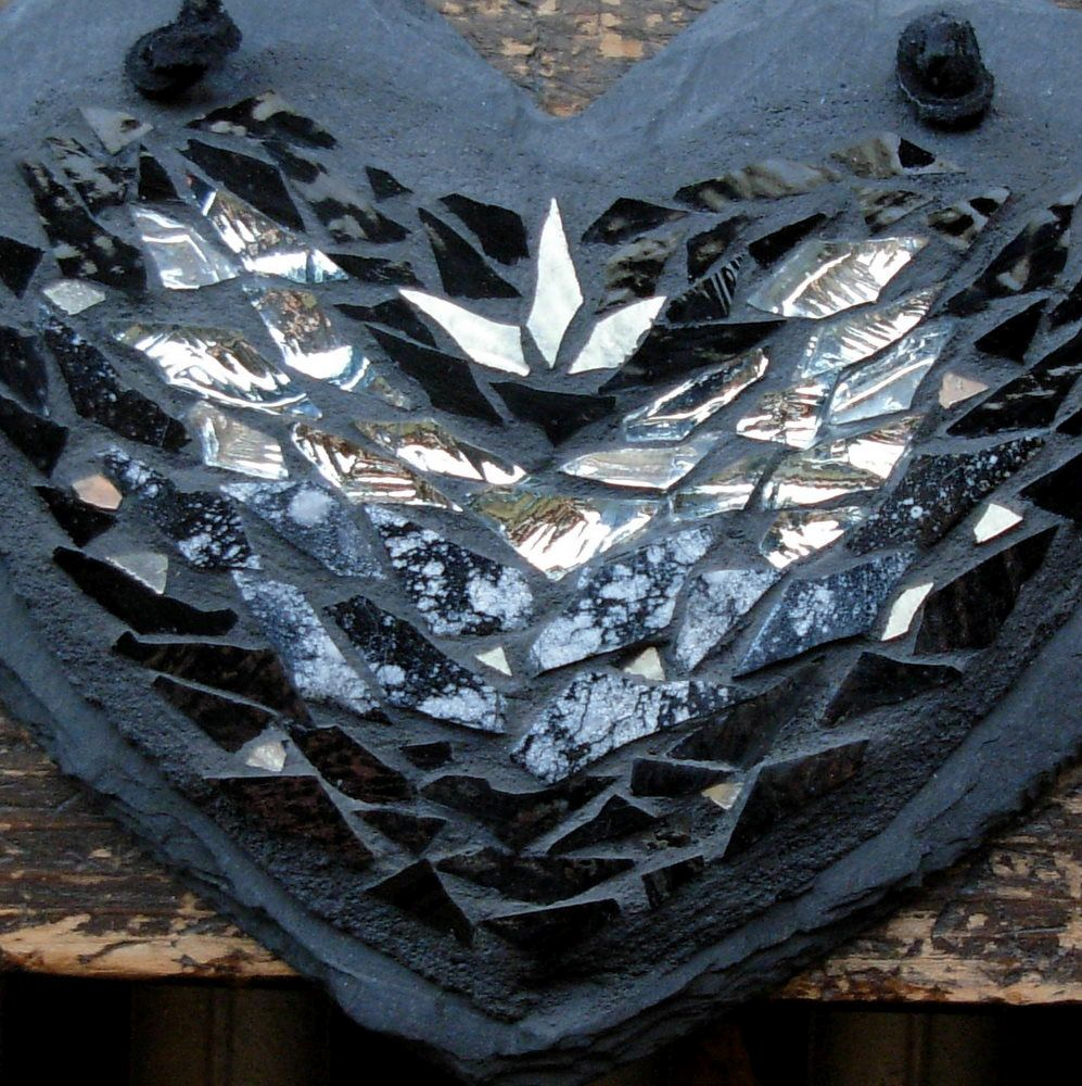 Film Noir Heart by Margaret Almon with Silver Cosmos Tile.