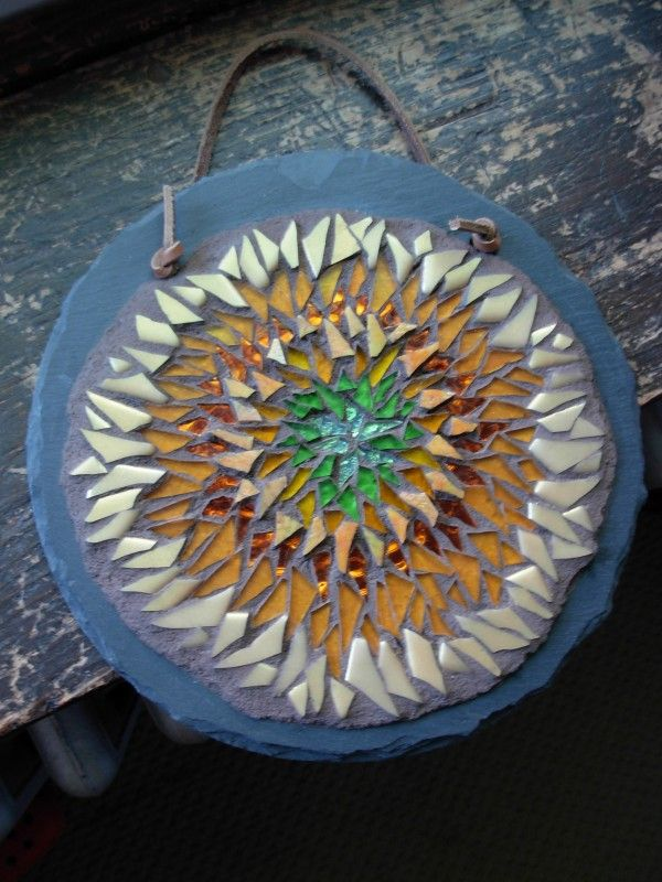 Sunflower Mandala Mosaic by Margaret Almon