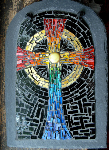 Rainbow Celtic Cross by Margaret Almon.